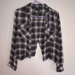 Romeo + Juliet Plaid Black White Long Sleeve Shirt